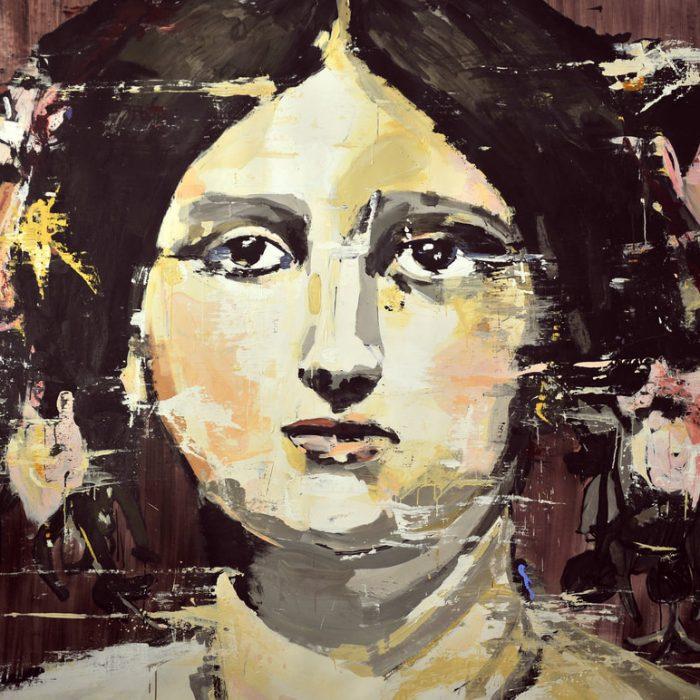 Lars Teichmann: Poncelle, 2017, Acrylfarbe auf Leinwand, 200x280cm, großformatiges Gemälde mit einer Porträtdarstellung einer jungen dunkelhaarigen Frau